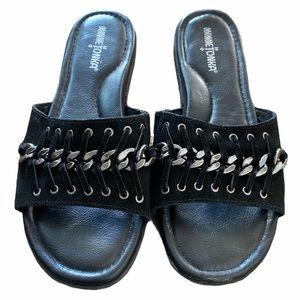 Minnetonka Paris Slide leather sandals black 9